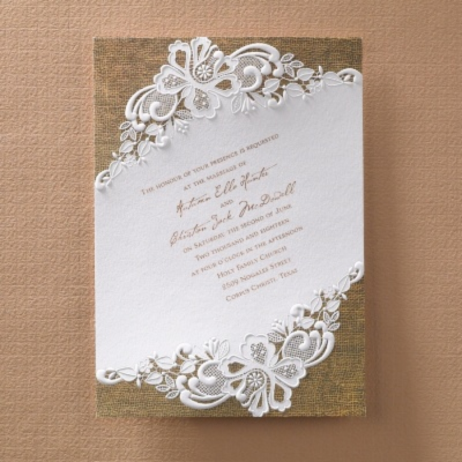 Rustic Battenburg Lace Invitation